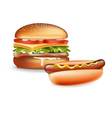 햄버거와 흰색에 고립 핫도그