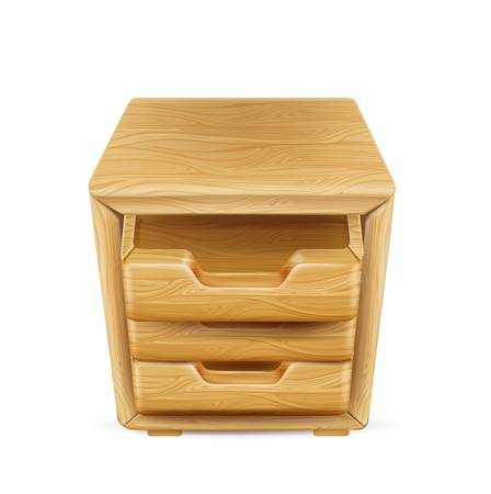 �tag�re bois: �tag�re en bois avec tiroirs isol�s sur fond blanc Illustration