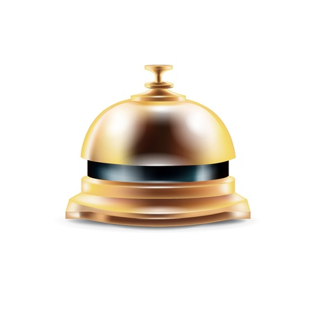 golden reception bell isolated on white Stock Vector - 20479571