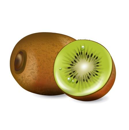 kiwi fruit and sliced fruit isolated