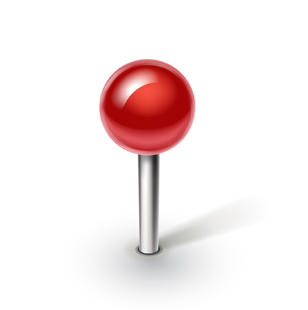 single red pin isolated on white background Иллюстрация