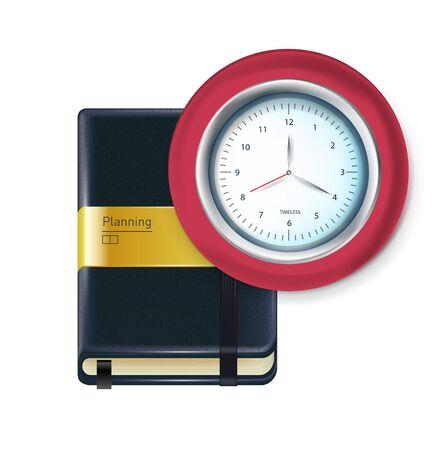 agenda: business agenda with clock isolated on white Illustration