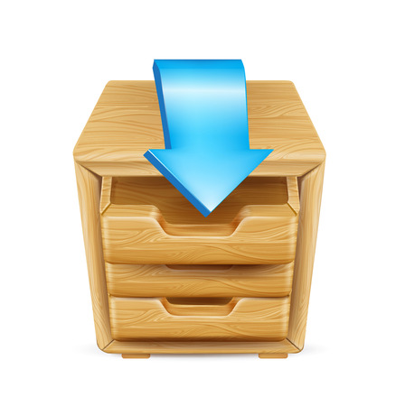 wooden office drawer with arrow isolated Vector