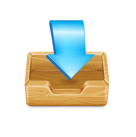 �tag�re bois: �tag�re en bois avec la fl�che; concept de l'int�rieur isol�