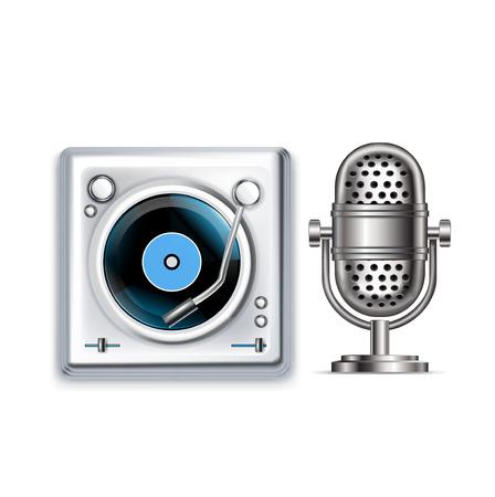 microfono radio: micr�fonos y tocadiscos iconos radio retro aislados