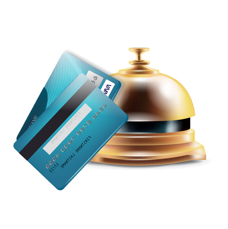 reception bell with credit cards isolated on white Vector