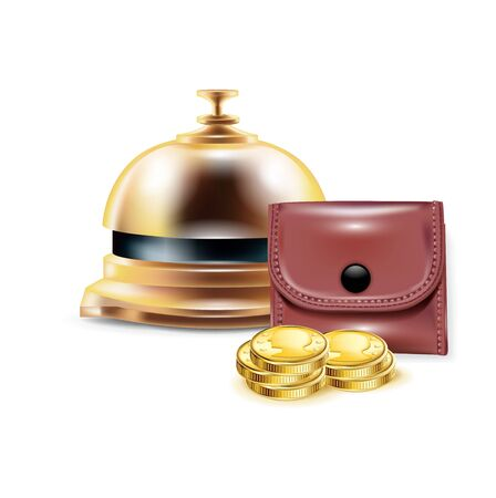 reception bell with wallet and golden coins isolated Vector
