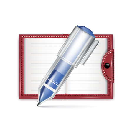 open notebook icon with pencil isolated on white