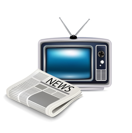 television and newspaper isolated on white Illustration