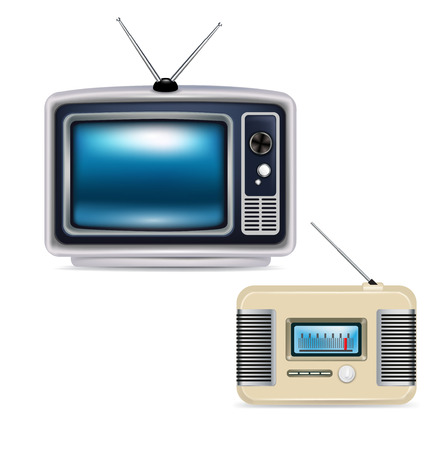 retro television and radio isolated on white