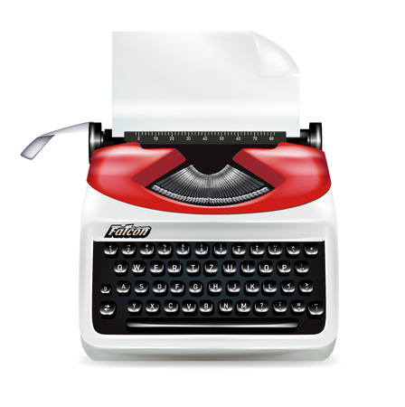 retro typewriter with page isolated on white