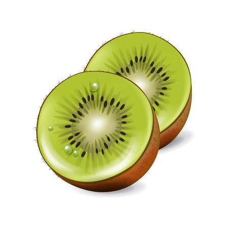kiwi: cut kiwi fruit pieces isolated on white background Illustration