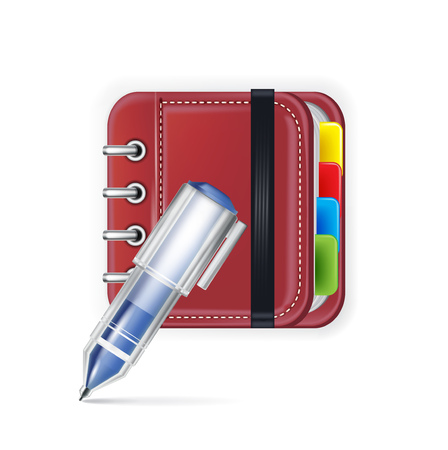 notebook icon with pencil isolated on white Stock Vector - 22590371