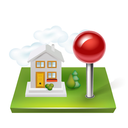 land mark: pin and house with land isolated on white