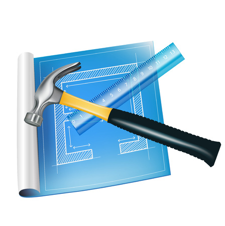 architecture sketch with ruler and hammer isolated Vector