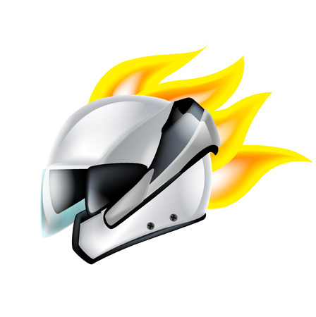 motorradhelm: Motorrad-Helm mit hot rod Flammen isoliert