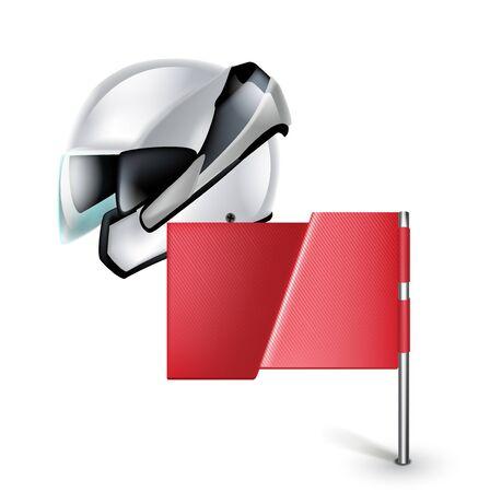 motorradhelm: Motorrad-Helm mit roten Flagge isoliert auf wei�em Hintergrund