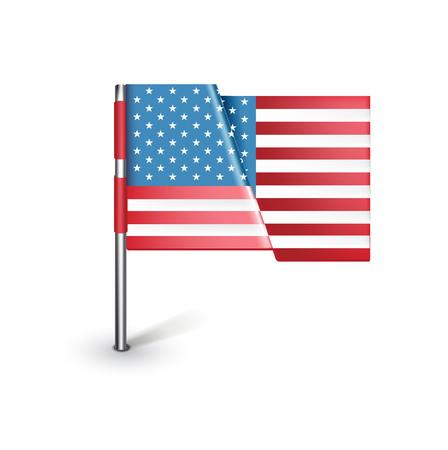 verenigde staten vlag: illustratie van de Verenigde Staten vlag op wit wordt geïsoleerd Stock Illustratie