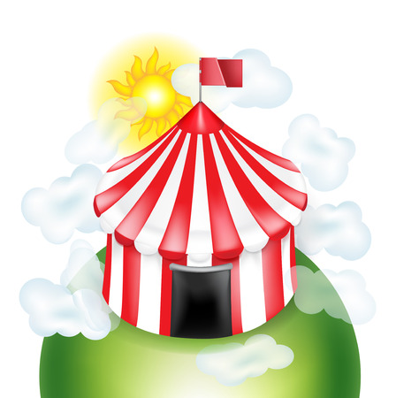 cirque: circus tent with coulds and sunny sky isolated on white background