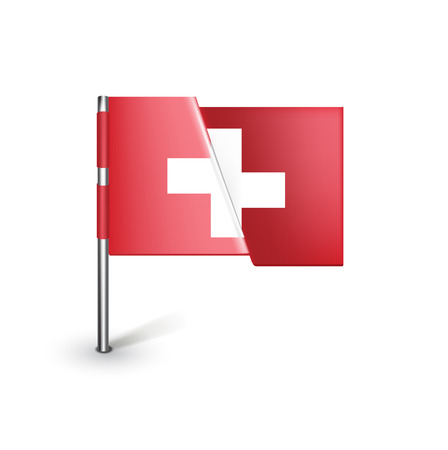 Switzerland flag isolated on white background Stock Vector - 22590489