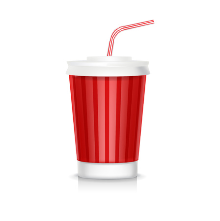 cola plastic glass with straw isolated on white Vector
