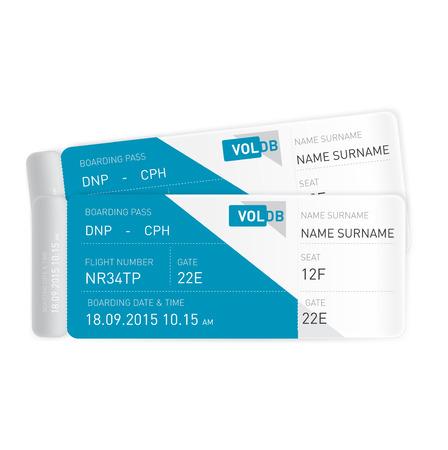 boarding card: due biglietti aerei isolati su sfondo bianco
