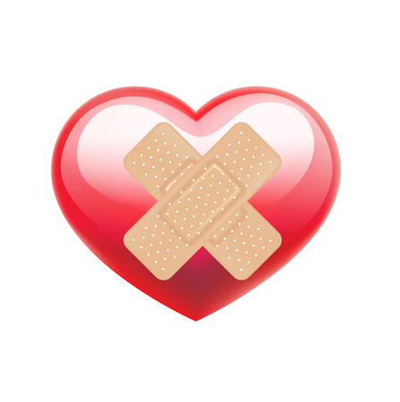 adhesive bandage on red heart isolated on white