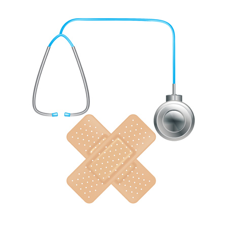 plasters in crossed position and sthetoscope isolated Illustration