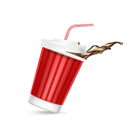 soda splash: cola glass with cap and straw spilling isolated Illustration