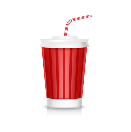 cola plastic glass with straw isolated on white