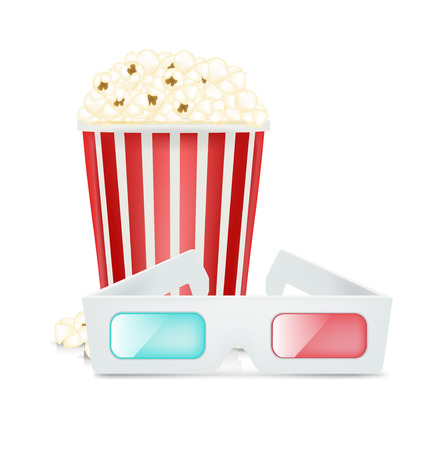 movie glasses and popcorn isolated on white background