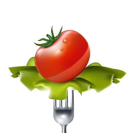 tomato with salad on fork isolated on white Illustration
