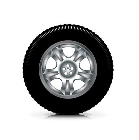 single car wheel isolated on white background