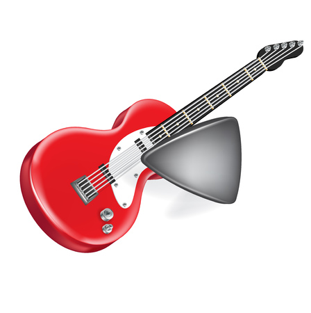 hollow body: electric guitar and plastic guitar plectrum isolated on white Illustration