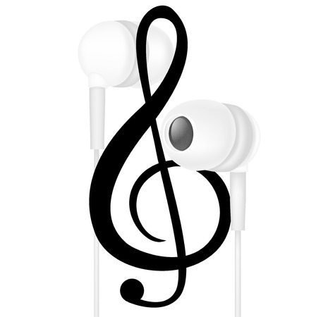 headphones and music note isolated on white Vector