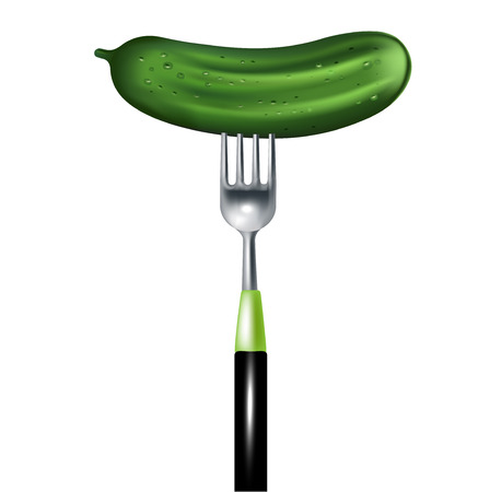 cucumber on fork isolated on white background