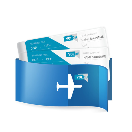 two plane tickets in corporate envelop isolated on white background