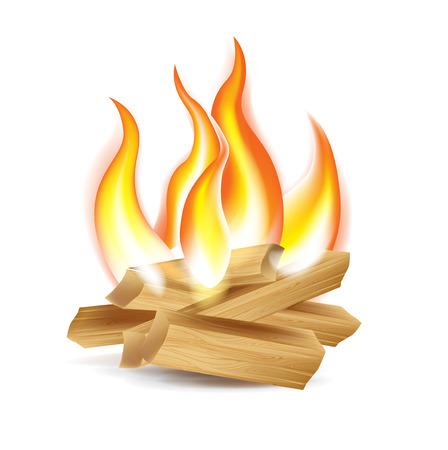 hot temperature: fogata de madera aislada en el fondo blanco