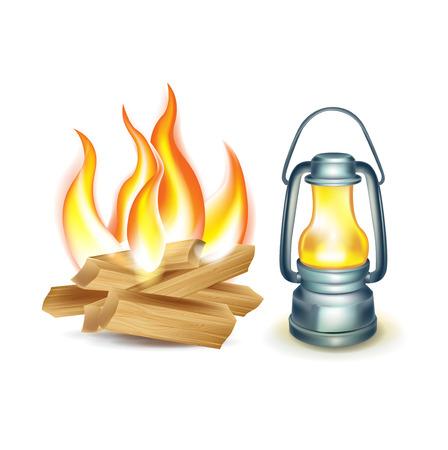an oil lamp: fogata de madera y una lámpara de aceite aislado en blanco