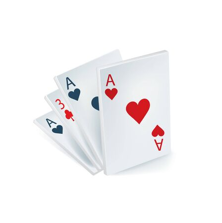 four playing cards isolated on white background Stock Vector - 22750915