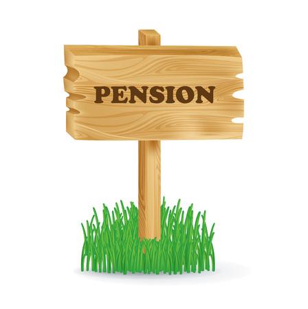 """pensioen: houten bord met """"pensioen"""" concept geà ¯ soleerd op wit"""