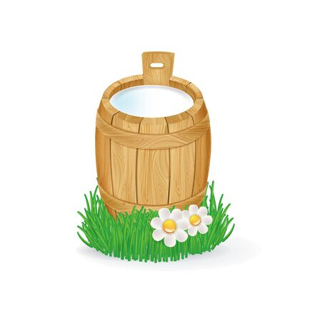 rural wooden bucket: milk in wooden bucket isolated on white background