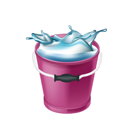 bucket with water and splash isolated on white background Illustration