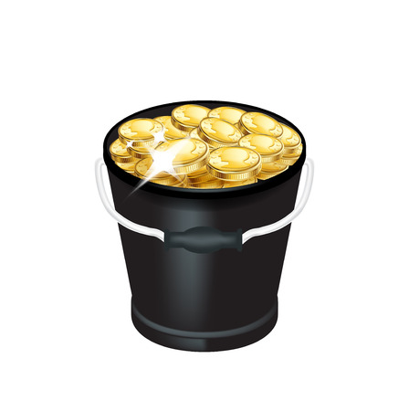 bucket with golden coins isolated on white Иллюстрация