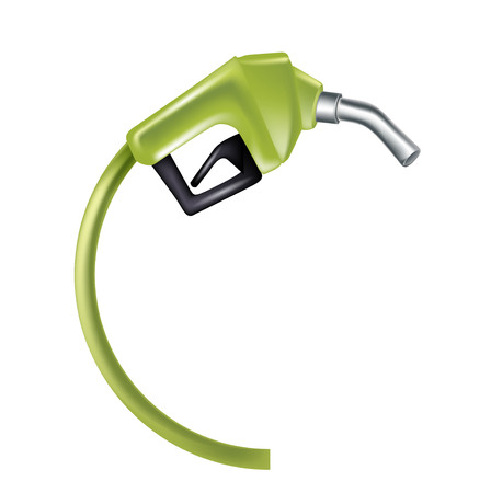 green gas pump nozzle isolated on white background Vector