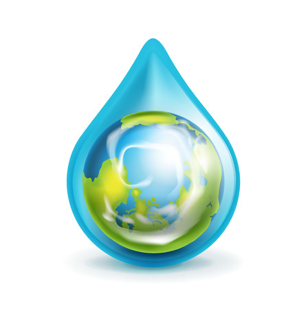 groundwater: earth globe in water droplet isolated on white Illustration