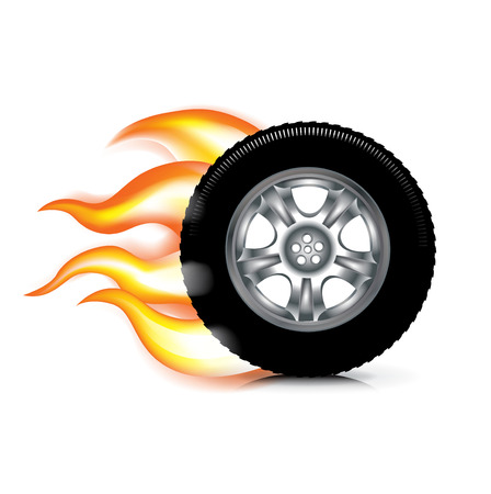 wheeltire and fire flames isolated on white background Illustration