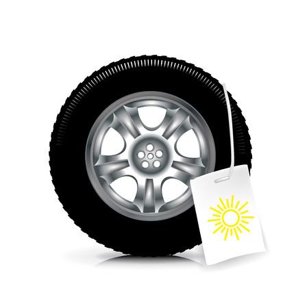 summer tires: rueda de coche  neum�tico con signo verano aislados en el fondo blanco