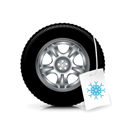 snow tire: car wheeltire with winter sign isolated on white background Illustration