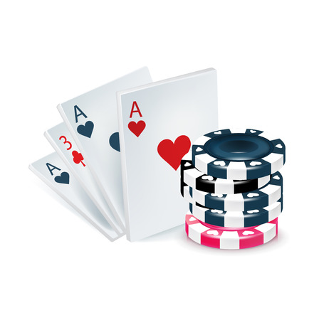 playing cards with poker chips isolated on white
